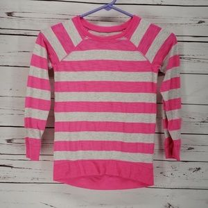 Justice pink gray striped long sleeve tee shirt